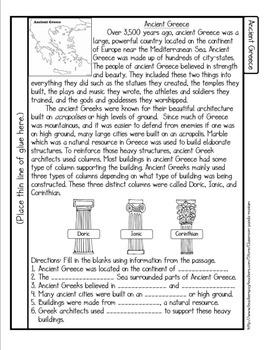 Ancient Greek Columns Tab Booklet