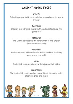 Ancient Greeks Fact Cards