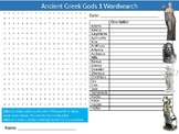Ancient Greek Gods #1 Wordsearch Sheet Starter Activity Keywords History Greece