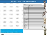 Ancient Greek Gods #2 Wordsearch Sheet Starter Activity Keywords History Greece
