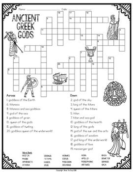 Ancient Greek Gods Crossword