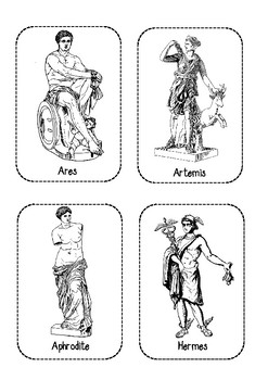 Ancient Greek Gods Cut and Paste Cards (display and worksheet)