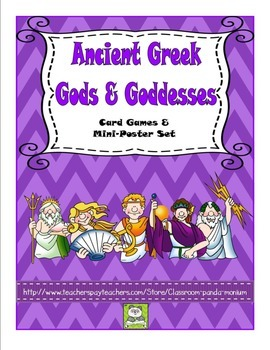 Ancient Greek Gods & Goddesses Card Game Sets & Mini-Posters