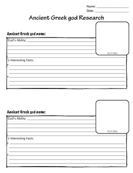 Ancient Greek Gods Research Organizer