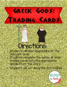 Ancient Greek Gods Trading Cards and Biographies Unit