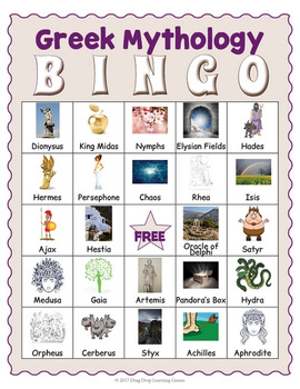 Ancient Greek Mythology Bingo Game