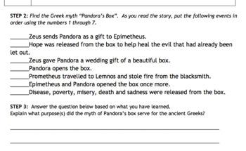 Ancient Greek Mythology Notes Activity