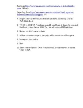 Ancient Greek Olympic Webquest