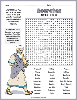 Ancient Greek Philosophers Activity - Socrates Word Search