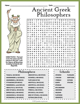 Ancient Greek Philosophers Word Search