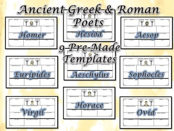 Ancient Greek & Roman Poets Large 8.5x11 Research Templates