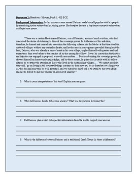 Ancient Greek Tyrants: Document Based Questions