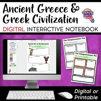 Ancient Greeks & Civilization DIGITAL Interactive Notebook Unit World History