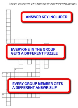 Ancient Greeks Part 1:  Interdependent Crossword Puzzles Activity