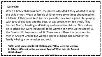 Ancient Greeks Task Cards