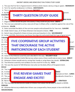 Ancient Greeks and Democracy in Athens: Study Guide and Activity Pack