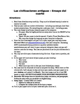 Ancient Hispanic Civilizations - Essay Assignment