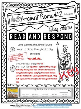 ANCIENT HISTORY Citing Evidence LIFE LONG AGO Reading Response BUNDLE