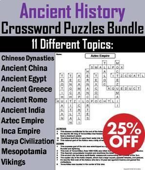 Ancient History Crossword Puzzles: China, Egypt, Greece, India, Rome, etc.