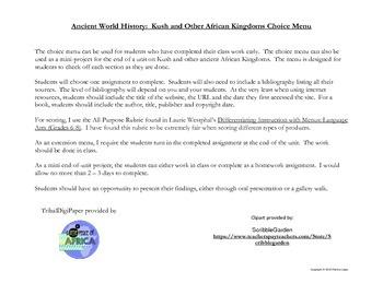 Ancient History:  Kush & Other African Kingdoms Choice Menu