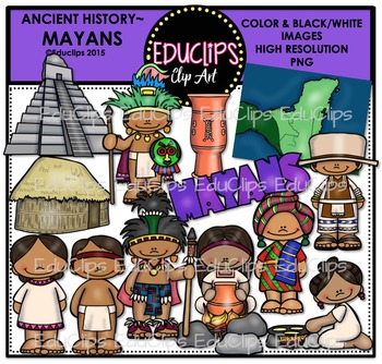 Ancient History - Mayans Clip Art Bundle {Educlips Clipart}