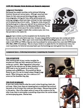 Ancient History Movie Reviews Assignment