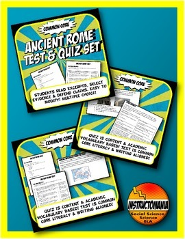 Ancient History Quiz and Test Bundle Common Core Writing and Literacy