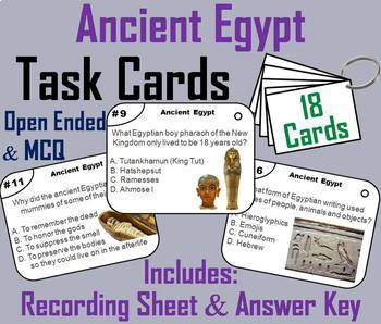Ancient History Task Cards Bundle: China, Egypt, Greece, India, Rome, etc.