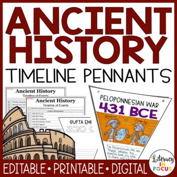Ancient History Timeline Pennants (Editable - Printable - Digital)