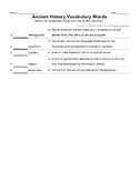 Ancient History Vocabulary Quiz