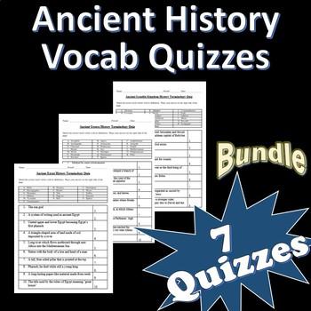 Ancient History Vocabulary Quiz Bundle + Word Lists