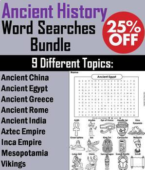 Ancient History Word Searches: China, Egypt, Greece, India, Rome, Vikings, etc.
