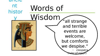 Ancient History Words of Wisdom Bell Ringers