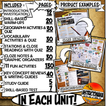 Ancient History Year in Curriculum Activity & Note Bundle Common Core Grades 5-8