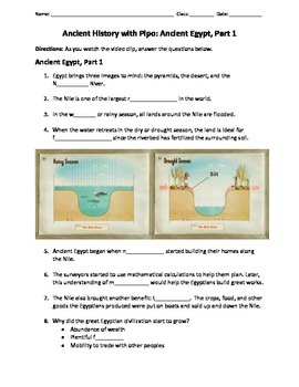 Ancient History with Pipo: Ancient Egypt Video Guided Notes