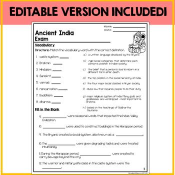 Ancient India Assessment Exam