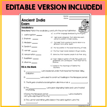 Ancient India Test Assessment Exam