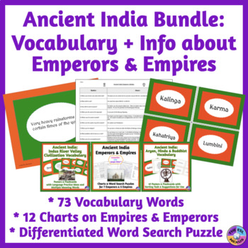 Ancient India BUNDLE: Vocabulary & Charts about Empires, Religions & People