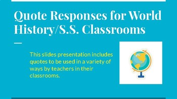 Ancient India & China Quote Response Warm Ups for Social Studies Classrooms