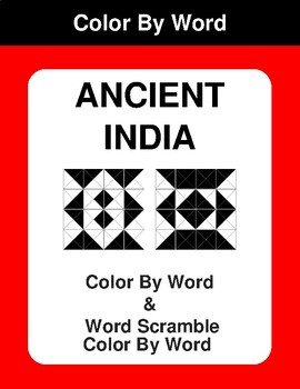 Ancient India - Color By Word & Color By Word Scramble Worksheets