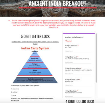 Ancient India Digital Breakout and Hyperdoc Two Pack