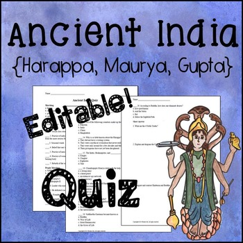 Ancient India Editable Quiz {Harappa, Mauryan, Gupta}