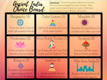 Ancient India Extension Menu Assessment