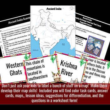 Ancient India Geography Scavenger Hunt and Task Cards - - Differentiated
