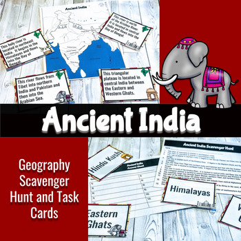Ancient India Geography Scavenger Hunt and Task Cards - -