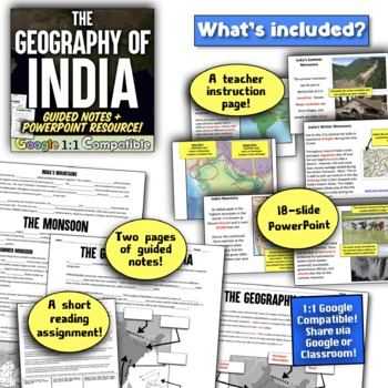 Ancient India Geography: The Land, Climate, and the Monsoons!  3 Activities!