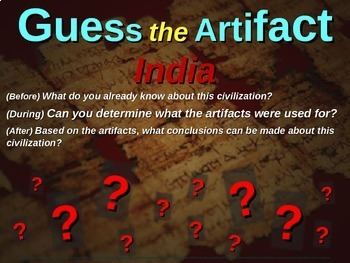 """Ancient India """"Guess the artifact"""" game: PPT w pictures & clues"""
