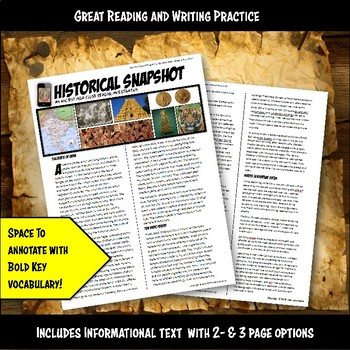 Ancient India Historical Snapshot Close Reading Investigation