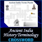 Ancient India History Crossword Puzzle Activity Worksheet