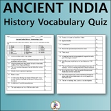 Ancient India History Vocabulary Quiz and Word List